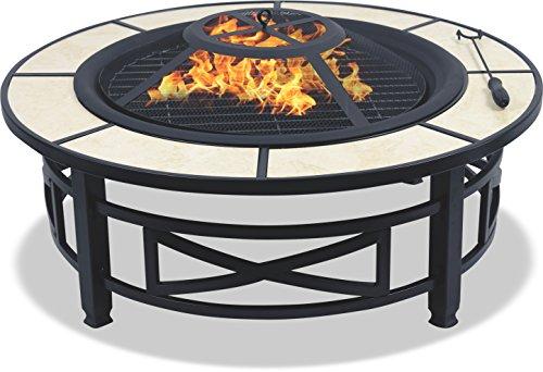 Centurion Supports NUSKU Luxuriös und Premium-Multi-Funktions-Schwarz mit Keramikfliesen 360 ° Außen Garten Terrasse Heizung Runde Feuerstelle Kohlebecken