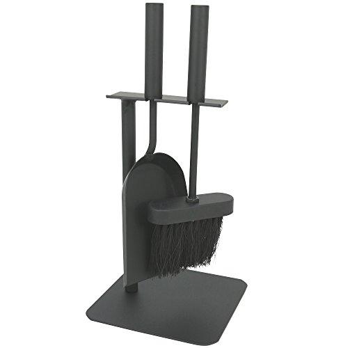 com-four 3-teiliges Kaminbesteck in schwarz in kompakter Größe aus Metall mit Schaufel Besen und Halter ideal für Kaminöfen 003-teilig Besteck
