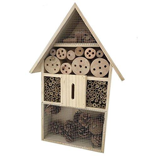 Garten XL Holz Insektenhotel Insektenhaus Nistkasten Brutkasten Insekten Bienen Hotel mit Drahtgitter