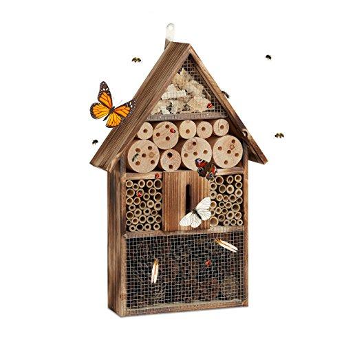 Relaxdays Insektenhotel 50 cm groß Zum Aufhängen Bienenhotel und Schmetterlingshaus Geflämmtes Holz natur