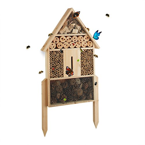 Relaxdays Insektenhotel L stehend Nisthilfe für Bienen Florfliegen Marienkäfer Holz HxBxT 605 x 37 x 9 cm natur