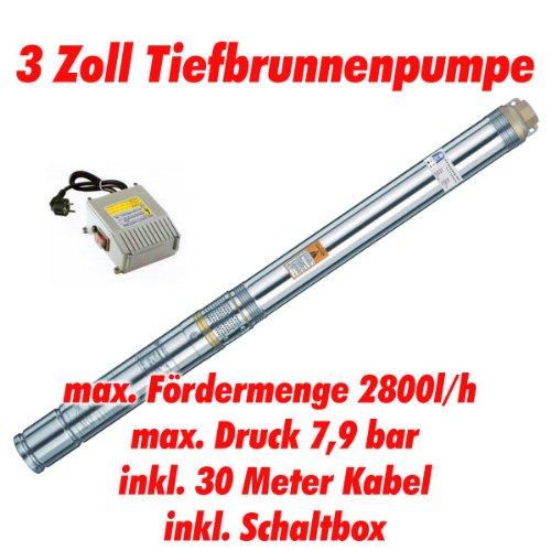 Agora-Tec AT- 3 Brunnenpumpe 550W mit 30 m Kabel Edelstahl-Tiefbrunnenpumpe mit max 79 bar 3200lh