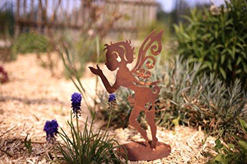 Kleines Fabelwesen Fee Locke- 28cm Wunderschöne Garten-Figur zu verwenden als Garten Deko auf dem Balkon oder als Dekoration auf Ihrer Terrasse oder in der Wohnung - Dekofigur von Manufakt-Design