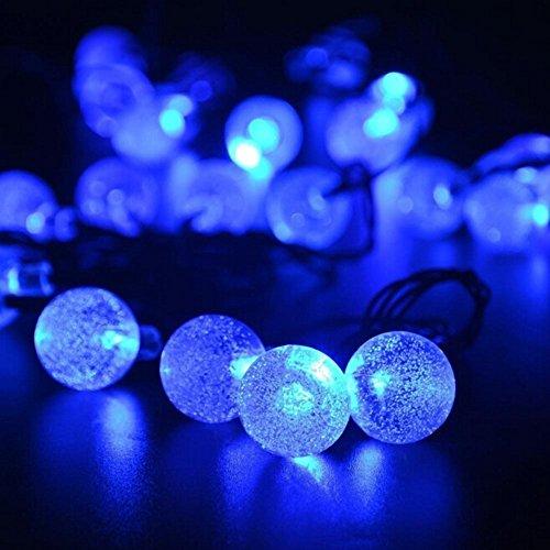 Solarbetriebene Kristall Kugel Fee Schnur Licht KEEDA 20ft 30 LED wasserdichte Outdoor Garten Solarlichter Außenbeleuchtung für Garten Terrasse WeihnachtenParty dekoration Blau