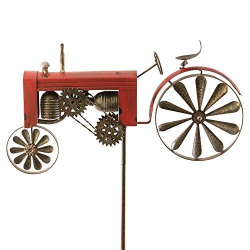 colourliving Windspiel Trecker Traktor rot Metall Windrad Garten Dekoration Terrasse