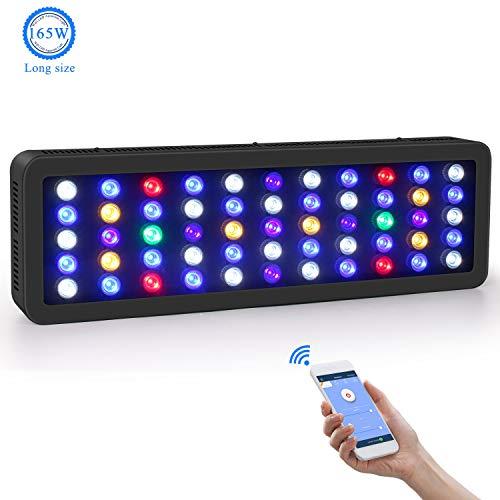 Roleadro WiFi Aquarium Beleuchtung LED 165W Dimmbar LED Aquarium Beleuchtung Große Größe LED Meerwasser mit Weißem LichtBlauem MondlichtBlauem LichtOzean Modus Licht 0-100 Helligkeit