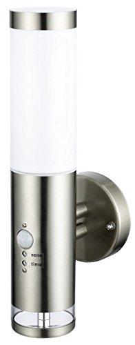 Edelstahl LED Außenwandleuchte - Wandleuchte Lisa 2 mit Hauptlicht und Grundlicht und Bewegungsmelder Außenlampe Außenleuchte