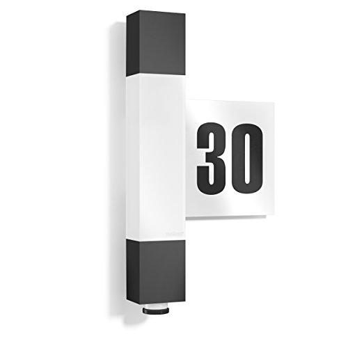 Steinel LED Wandleuchte L 630 inklusive Hausnummer 360 Grad Sensor 8 m Reichweite Softlicht Dauerlicht UV-beständiger Kunststoff Integriert 82 W Anthrazit 65 x 211 x 364 cm