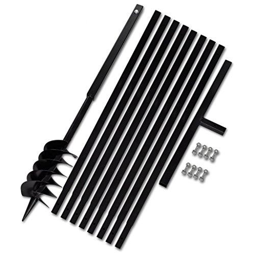 Festnight Metall Bohrer Handerdbohrer 120mm Erdbohrer Erdbohrgerät mit Griff  8x Verlängerungsrohr