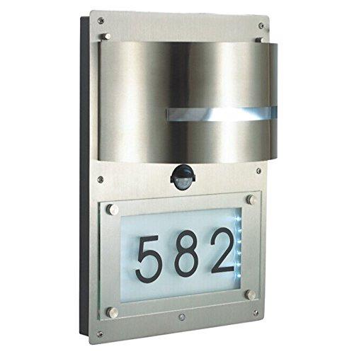 Grafner Edelstahl Wandlampe mit Hausnummer beleuchtet mit Bewegungsmelder LED Lampe Hausnummernleuchte