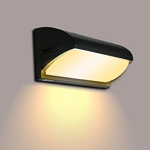 Lightsjoy 10W LED Wandlampe Wandleuchte Aussen Aussenleuchte Ausselampe Wand Warmweiss aus Aluminium Aussenwandleuchte Schwarz Down Licht Wandlicht für Outdoor Garten Balkon Flur Treppenhaus usw