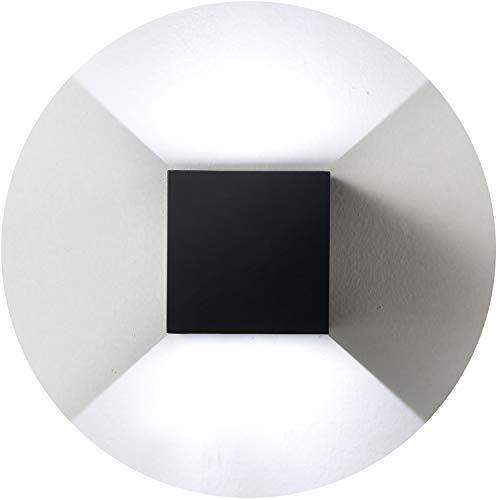 Topmo 12W LED Wandlampe mit einstellbar Abstrahlwinkel Wasserdichte IP65 Wandbeleuchtung 6000K kaltweiß Quadrat LED Außenwandleuchten schwarz-kaltweiß