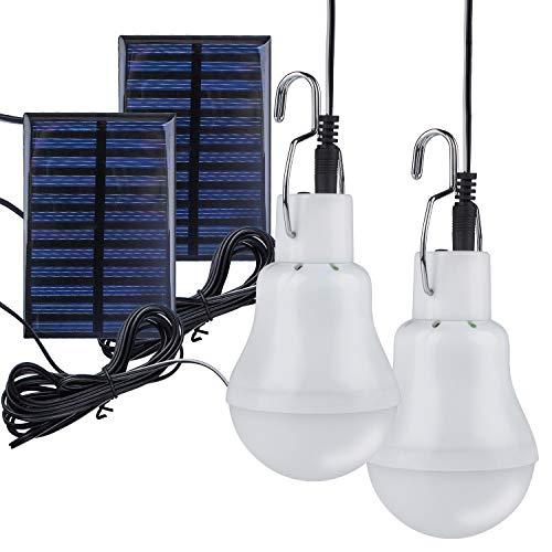 2 Stück Solar GlühbirneTechKen Solarlampe LED Licht Tragbare Birne Solarlampen Lämpchen 3 W3 m Ladekabel Solar Panel Beleuchtung für CampingWandernAngelnGartenhaus