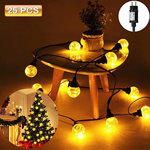 LED lichterkette Glühbirnen SOLMORE 25LEDs IP65 Wasserdicht Lichterkette Birnen G40 Globus Schnur Gluehbirne Aussen für Hochzeit Garten Weihnachten Decoration