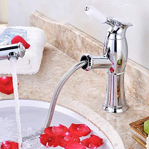 YSSLT Alle Kupfer Warm und Kalt Becken Wasserhahn Pull-Out Wasserhahn Antike Waschbecken Wasserhahn Waschbecken SkalierbarSilber