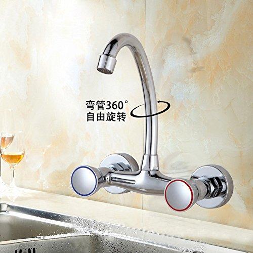 Alle Kupfer Hauptkörperwand Küche Wasserhahn heiß und Kalt Doppelgriff Waschbecken Waschtisch Mischbatterie