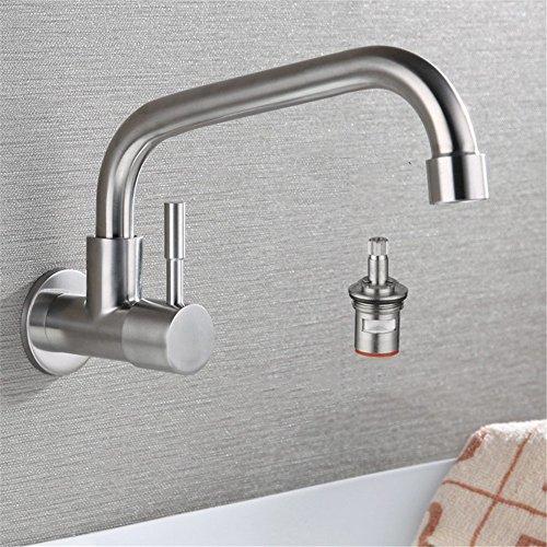 Küche Spüle Balkon 304 Edelstahl Wand- Single-Kälte- Universal- Dreh- Waschtisch Wasserhahn