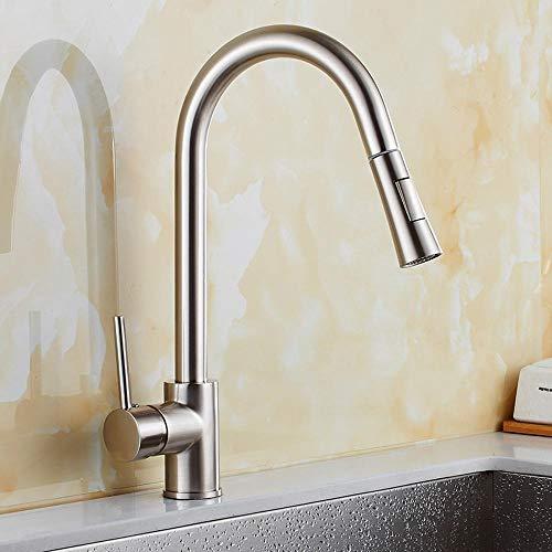 Lxj Wasserhahn Küche herausziehen Wasserhahn Spüle Gemüse Waschtisch kalt- und rotierenden Nickel Zeichnung Wasserhahn