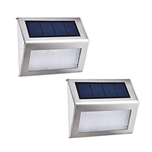 2 Stück LED Solar Kühles Weiß Treppe Gartenleuchte Solarleuchte Treppenleuchte Terrassen Leuchte wasserdicht für Dachrinnen Balkon Terrasse
