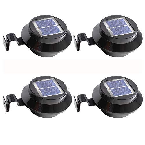 4 Stück LED Lampe Solarlampe Dachrinnen Licht Wandleuchte für Zaun - Schwarz Weißes Licht