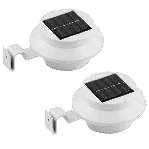 Grafner 2er-Set Solar LED Dachrinnen Leuchten  weiß  mit Klemmschraube  Dachrinneleuchte Zaunleuchte Solar LED