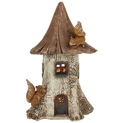 Solar Powered beleuchtet Fairy HausWohnung Garten Ornament mit Eichhörnchen