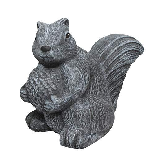 Tiefes Kunsthandwerk Steinfigur Eichhörnchen - Schiefergrau Deko Figur Garten Stein Frostsicher