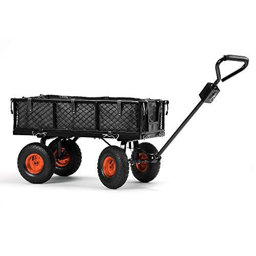 VonHaus GartenwagenHandwagenBollerwagen – Belastbarkeit 350 kg - robust - geländegängig – ideal für Camping Festivals – mit Lenkung klappbaren Seiten Geländereifen