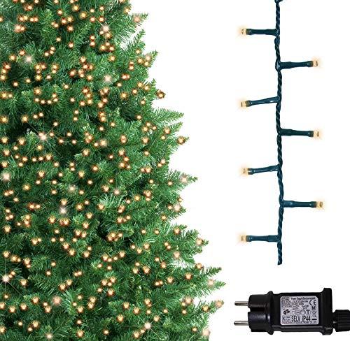 Baum helle Lichter 500 LED warme weiße Baum-Lichter Innen und im Freiengebrauch Timerfunktionen Netzbetriebene feenhafte Lichter 125m  41ft Lit-Länge GRÜNES KABEL