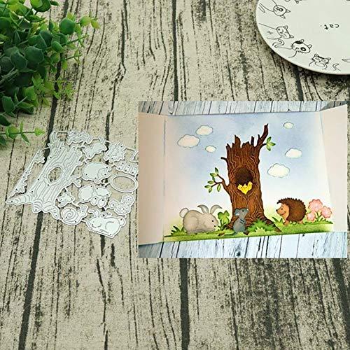 periwinkLuQ Stanzschablonen aus Metall Motiv Baum für Scrapbooking Dekoration Prägung Schablonen – Silber