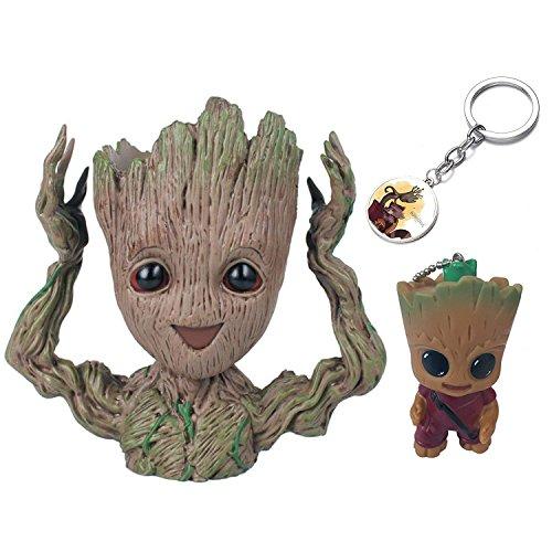 KRUCE 3er Pack Baby Groot Blumentopf Stift Container mit 2 Stück Groot Keychain Anhänger Wächter der Galaxie Baum Mann Blumentöpfe mit Loch Action-Figuren Spielzeug Geschenk