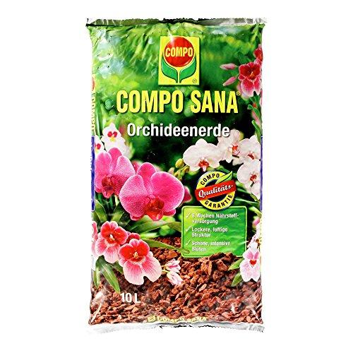 COMPO SANA Orchideenerde mit 8 Wochen Dünger für alle Orchideenarten Kultursubstrat aus Pinienrinde 10 Liter