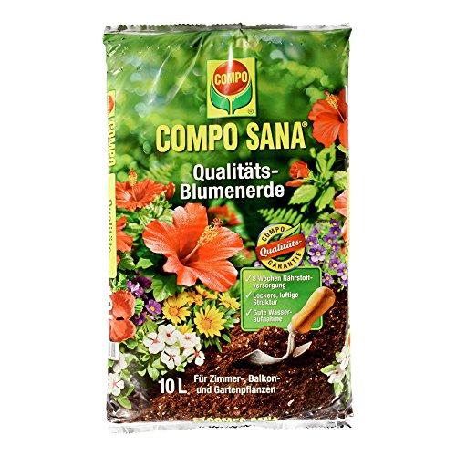 COMPO SANA Qualitäts-Blumenerde mit 8 Wochen Dünger für alle Zimmer- Balkon- und Gartenpflanzen Kultursubstrat 10 Liter