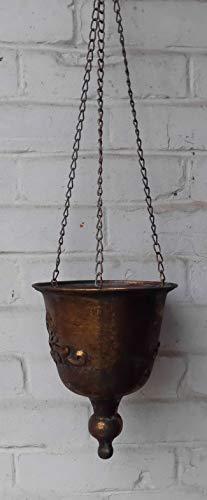 Deko-Impression Hängeampel Blumenampel Pflanztop Übertopf a Kette Eisen Gold antik