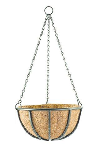 Pflanz Ampel Metall Blumenampel aus beschichtetem Metall in Schmiede Eisen Look - 4 verschiedene Größen - inkl verzinkter Kette zum Aufhängen - 4 verschiedene Größen erhältlich - mit hochwertigem Kokos Inlay auf der Innenseite 16 Liter  45 cm
