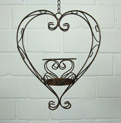 Stöberdeel Blumenampel Herz zum Hängen mit Kette aus Eisen in Braun