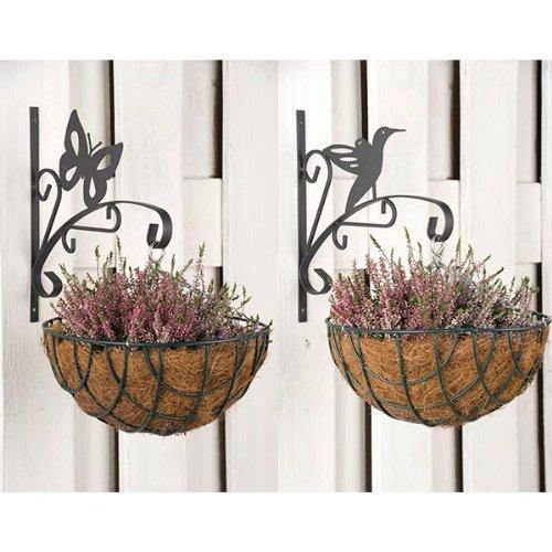 wohnen-freizeit 2tlg Set Haken für Blumentopf Eisen 29 x 2 x 30 cm Blumenampelhaken Schmetterling Vogel Blumenampel Blumenhaken