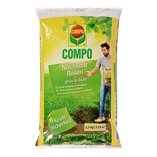 COMPO Nachsaat-Rasen grün und dicht Rasenmischung mit schnell keimenden Rasensorten 25 kg 125m²