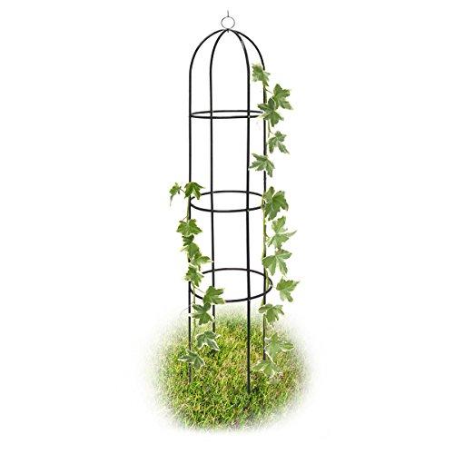 Relaxdays Rankobelisk 190 cm aus Metall Rosen Rankturm freistehend dekoratives Rosengestell Rasen und Beet grün