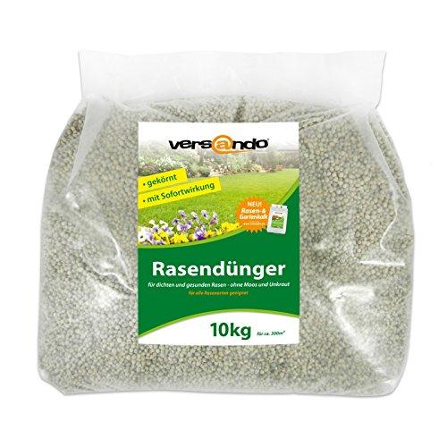 Versando Rasendünger 10 Kg für ca 300m² sattgrünen Rasen ganzjährig - ohne Moos und Unkraut NPK-Dünger mit Sofortwirkung