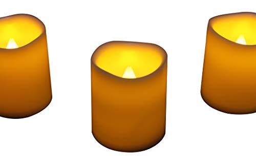 6 LED Votivkerzen Stumpenkerzen - 5cm Flackernde Flammenlose Batterie Kerzen für Party Deko Hochzeit von PK Green