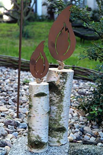 Edelrost 2tlg Flammen mit Dorn 1020cm für Holz Garten Deko