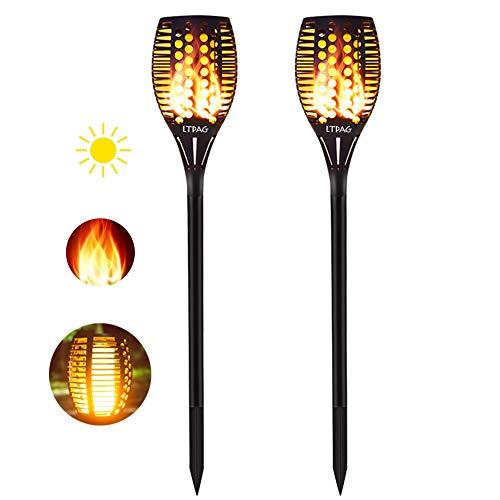 Solar Gartenleuchte LTPAG 2 Stück Solarlampen für Außen LED Solar Taschenlampe 96 LED Bis Dawn Automatische EinAusLicht Sensor IP65 Wasserdicht Solar Garten Flammeneffekt Deko Weihnachten