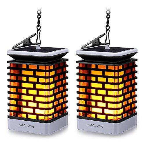 Solarleuchten für Außen NACATIN 99 LED Flackernde Flammenlampe IP55 Wasserdicht Dekoration Lampen Hängeleuchte für Haus Garten Balkon Hof Automatisch AnAus2 Stücke