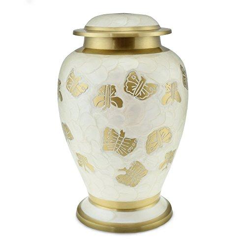 Cherished Urns Kaleidoskop weiß Perle Schmetterling Erwachsene Urne für Asche