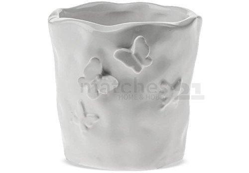 matches21 Übertopf Blumentopf Keramik weiß Schmetterling Relief welliger Rand 135 cm
