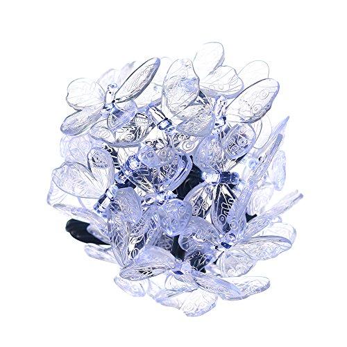 solar kette mit 24 Schmetterling weiß für InnenaußenpartyweihnachtenHochzeitGartenTerrrassenBalkonen