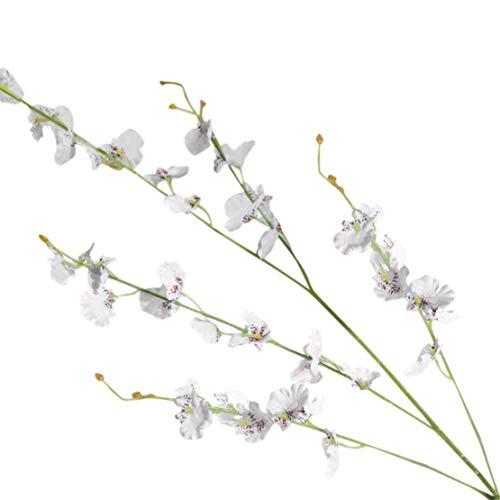 happy event Unechte Blumen  Simulation Oncidium Orchidee Phalaenopsis Künstliche Deko Blumen Gefälschte Blumen  Braut Hochzeitsblumenstrauß für Haus Garten Party Blumenschmuck Weiß