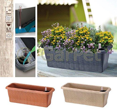 Blumenkasten mit Rattan Optik Wasserspeicher Balkon Kasten Pflanz Kübel Gefäß Blau 60 cm