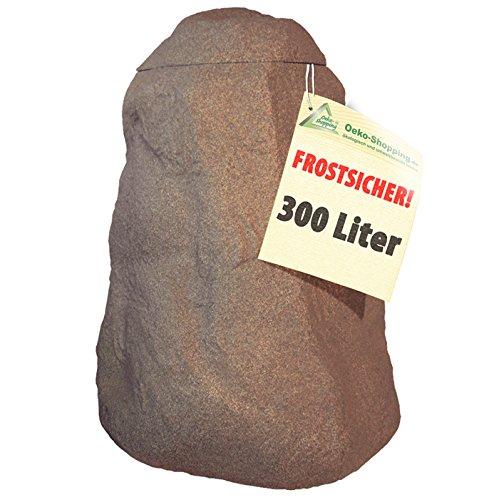 WINTER SONDERPREIS REGENTONNE FELS stein-braun 300l Regenfass mit Deckel und Wasserhahn